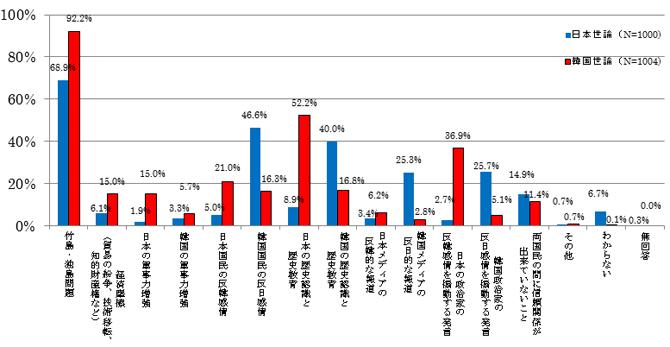 図表9 両国民が考える日韓関係の発展を妨げるもの