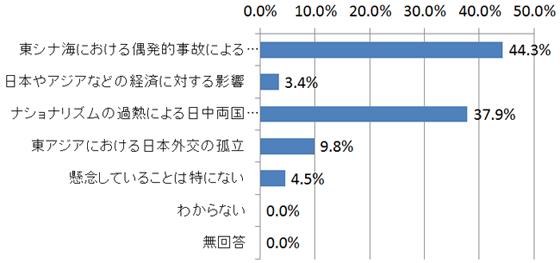尖閣問題を巡る日本と中国の対立について、あなたが最も懸念していることは何ですか